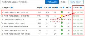 keyword search results in Jaaxy