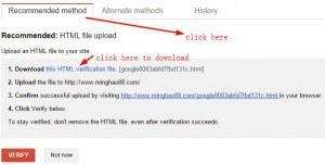 download google verification html file