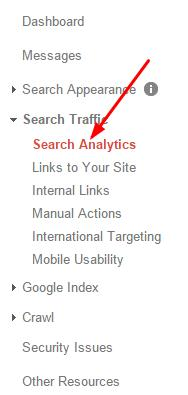 google webmaster tool dashboard