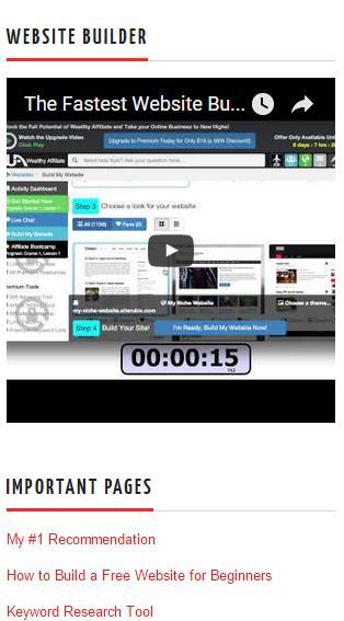 sidebar widget video