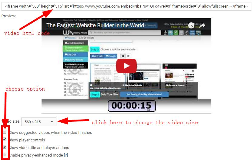 more options of youtube video code