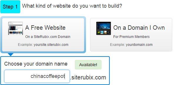 choose a free subdomain on siterubix